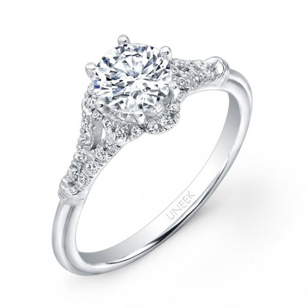 Uneek Vintage-Inspired Round Diamond Engagement Ring with Floral-Shaped Halo and Ribbon-Style Split