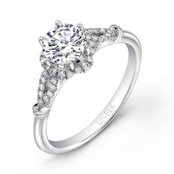 Uneek Nature-Inspired Round Diamond Engagement Ring with Floral-Shaped Halo and Marquise-Shaped Diam