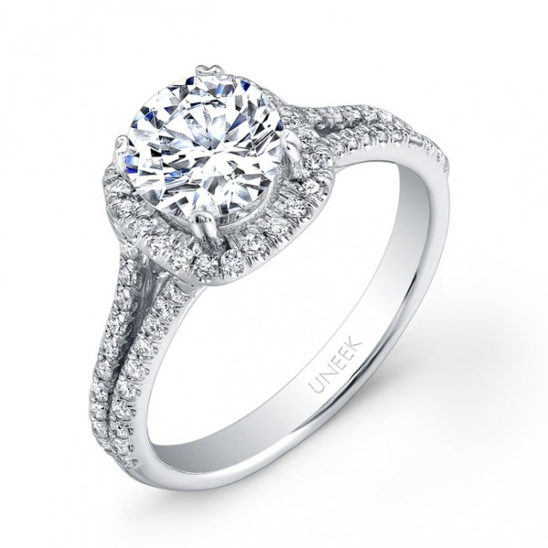 Uneek Round-Diamond-on-Cushion-Halo Engagement Ring with Split Upper Shank, in 14K White Gold