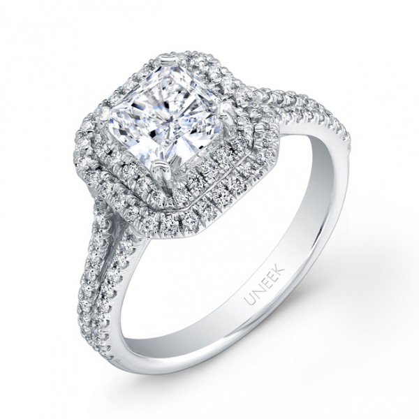 Uneek Princess-Cut Diamond Engagement Ring with Dazzling Asscher-Shaped Double Halo and Split Upper
