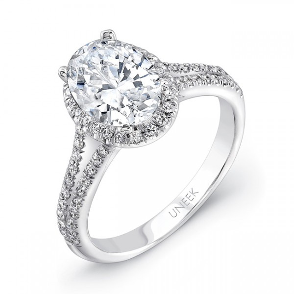 Uneek Oval Diamond Halo Engagement Ring with Split Upper Shank, in 14K White Gold