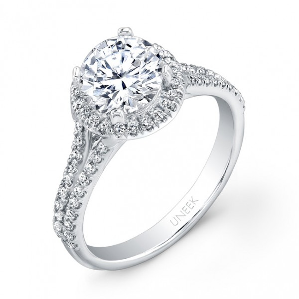 Uneek Round Diamond Halo Engagement Ring with Split Upper Shank, in 14K White Gold