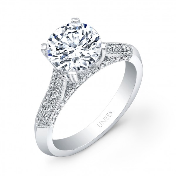 Uneek Round Diamond Engagement Ring with Four-Sided Micropave Upper Shank and Milgrain Edging, in 14