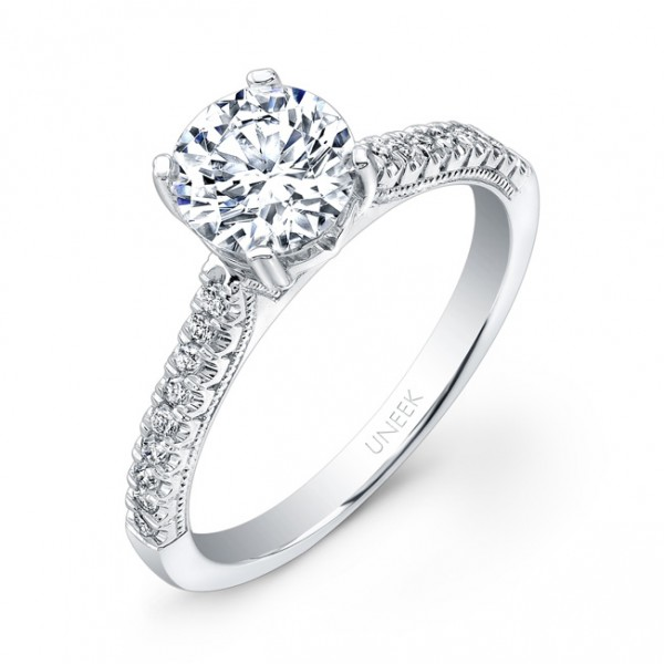 Uneek Round Diamond Engagement Ring with U-Pave Upper Shank and Milgrain Accents, in 14K White Gold