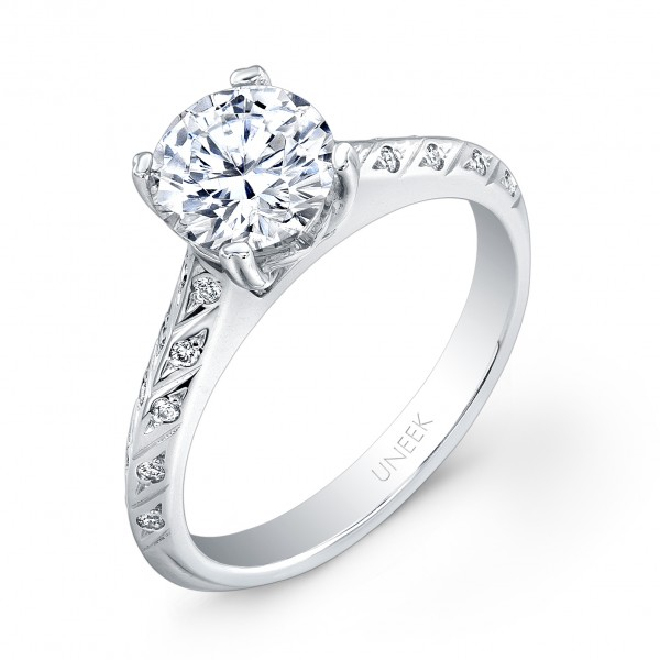 Uneek Round Diamond Engagement Ring with Hand-Engraved Knife-Edge Upper Shank and Delicately Scatter