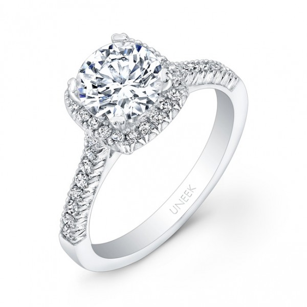 Uneek Round-Diamond-on-Cushion-Halo French Pave Engagement Ring, in 14K White Gold