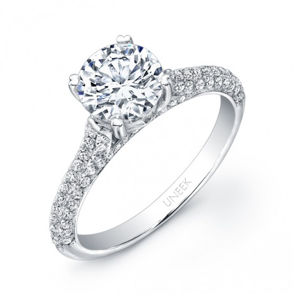 Uneek Round Diamond Non-Halo Engagement Ring with Three-Sided Pave Upper Shank, in 14K White Gold