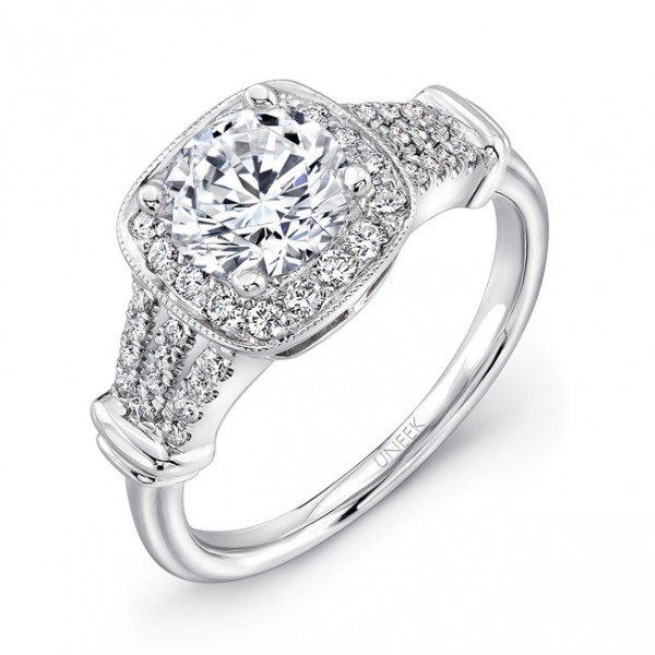 Uneek Round-Diamond-on-Cushion-Halo Engagement Ring with Triple-Split Upper Shank and Milgrain Accen