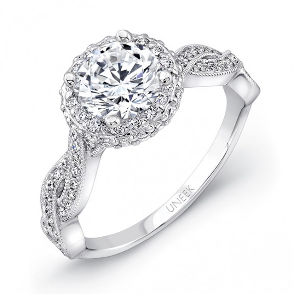 Uneek Round Diamond Engament Ring with Round Two-Sided Pave Halo and Milgrain-Trimmed Crisscross Upp
