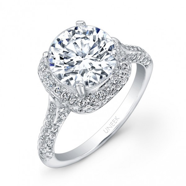 Uneek Round Diamond Engagement Ring with Cushion-Shaped Two-Sided Pave Halo and Three-Sided Pave Upp