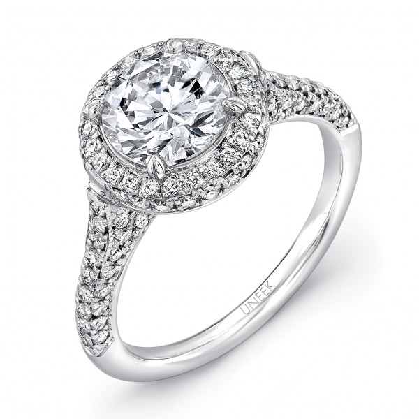 Uneek Round Diamond Engagement Ring with Two-Sided Pave Halo and Three-Sided Pave Upper Shank, in 14