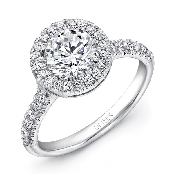 Uneek Classic Round Diamond Halo Engagement Ring with U-Pave Upper Shank, in 14K White Gold