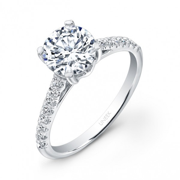 Uneek Round Diamond Non-Halo Engagement Ring with Pave Upper Shank, in 14K White Gold