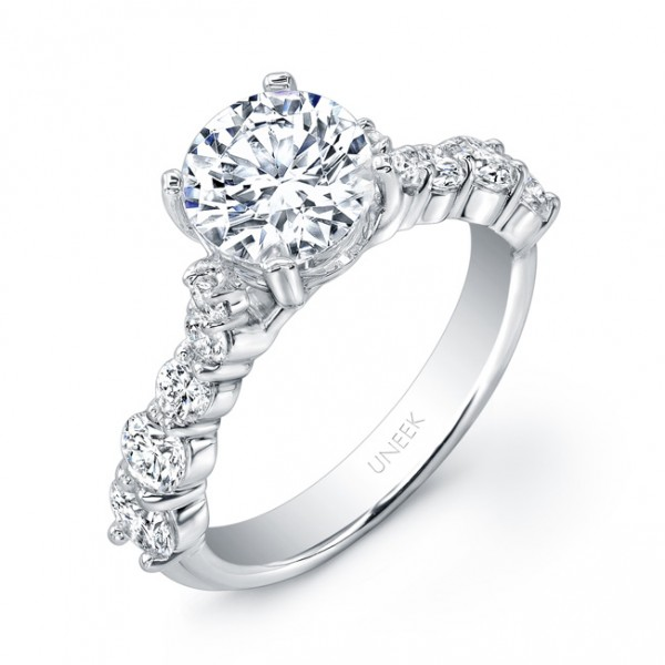 Uneek Round Diamond Non-Halo Engagement Ring with Graduated Melee Diamonds Shared-Prong Set on Upper