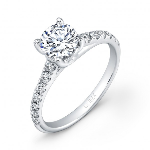 Uneek Round Diamond No-Halo Engagement Ring with Graduated Melee Diamonds U-Pave Set on Upper Shank,