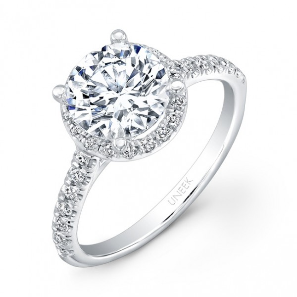 Uneek Contemporary Round Diamond Halo Engagement Ring with U-Pave Upper Shank, in 14K White Gold