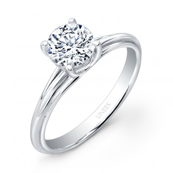 "Uneek Classic Round Diamond Solitaire Engagement Ring with Sleek, Stoneless Unity ""Tri-Fluted"" Shank"