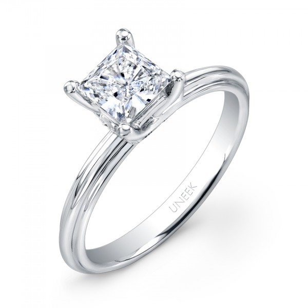 "Uneek Classic Princess-Cut Diamond Solitaire Engagement Ring with Sleek, Stoneless Unity ""Tri-Fluted"