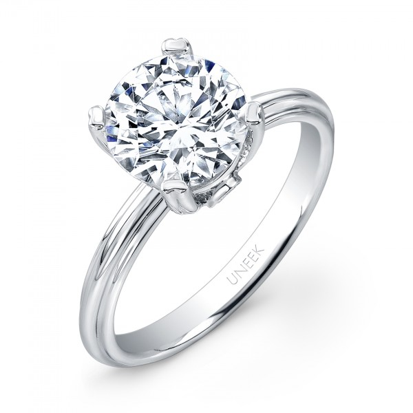 "Uneek Classic 2-Carat Round Diamond Solitaire Engagement Ring with Sleek, Stoneless Unity ""Tri-Flute"