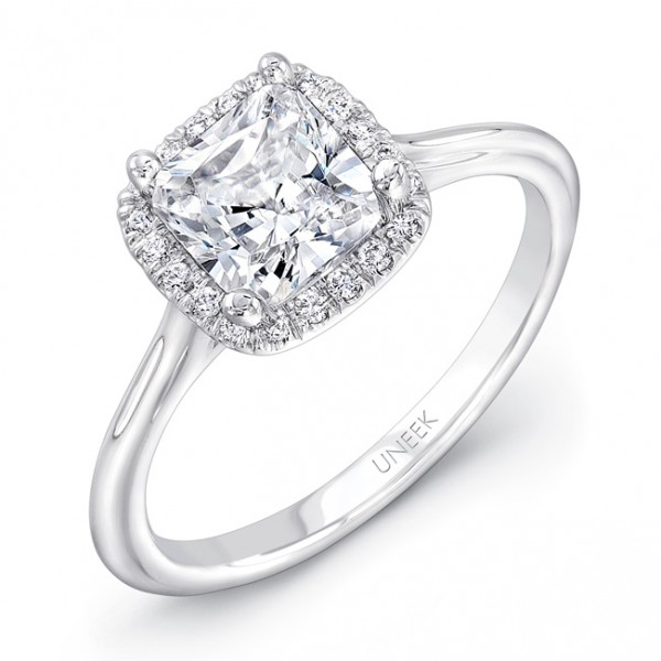 "Uneek Classic Princess-Cut-Diamond-on-Cushion-Halo Engagement Ring with Sleek, Stoneless Unity ""Tri-"