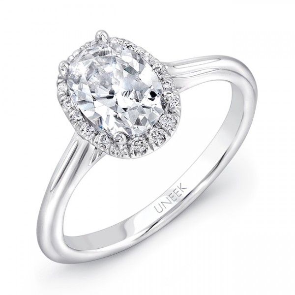 "Uneek Classic Oval Diamond Halo Engagement Ring with Sleek, Stoneless Unity ""Tri-Fluted"" Shank, in 1"