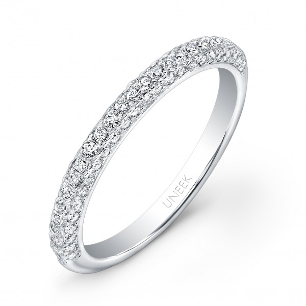 Uneek Three-Sided Diamond Wedding Band in 14K White Gold