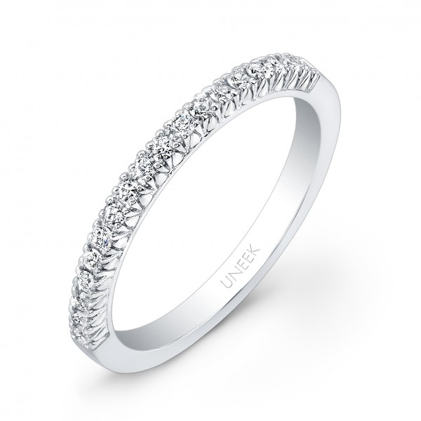 Uneek 18-Diamond French Pave Wedding Band in 14K White Gold