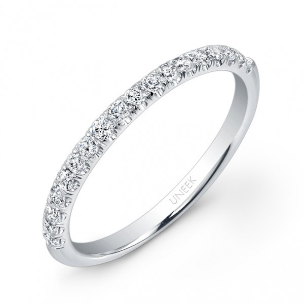 Uneek 18-Diamond Micropave Wedding Band in 14K White Gold