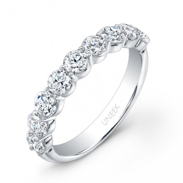 Uneek 9-Diamond Shared-Prong Wedding Band with Scalloped Edges, in 14K White Gold UWB05