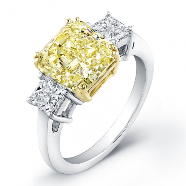 Uneek Natureal Collection Yellow Diamond Engagement Ring 126204