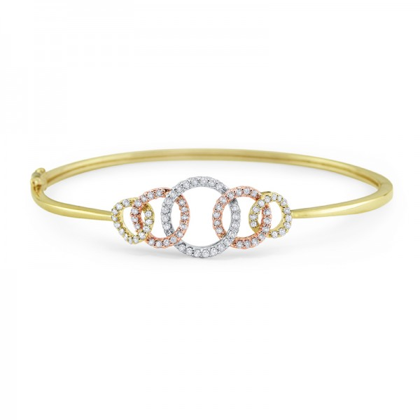 14K Diamond Multi Circle Bangle