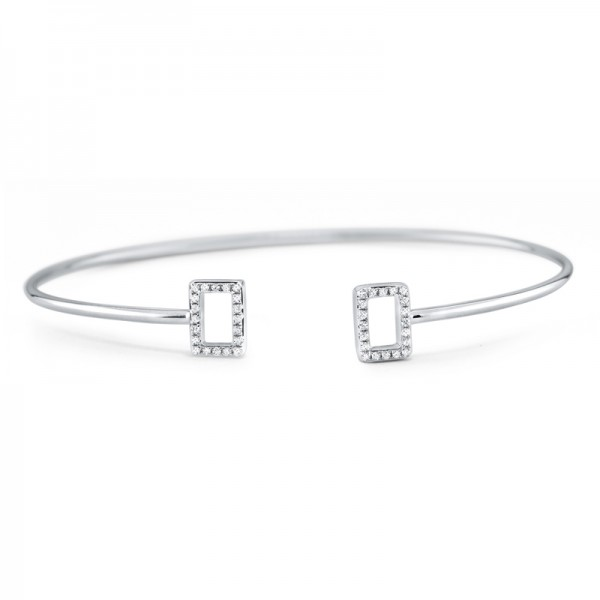 14K Diamond Geometric Bangle
