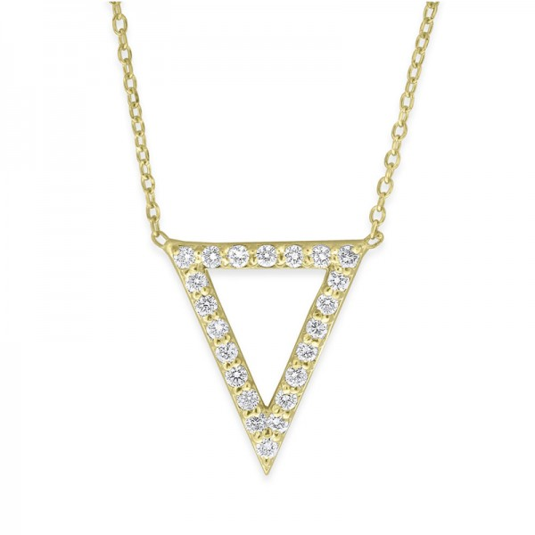 Diamond Open Triangle Necklace in 14K Yellow Gold with 22 Diamonds Weighing .22ct tw