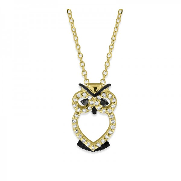 Black and White Diamond Owl Necklace in 14K Yellow Gold with 35 Diamonds Weighing .10 ct tw
