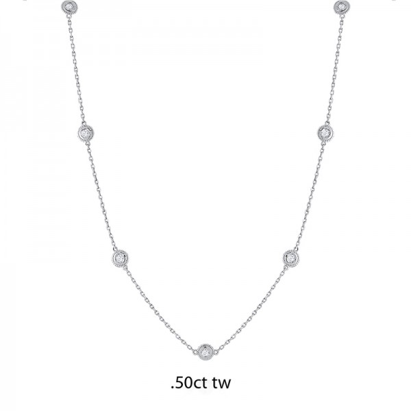 14K Gold Diamond by the Yard Necklace .50ct tw