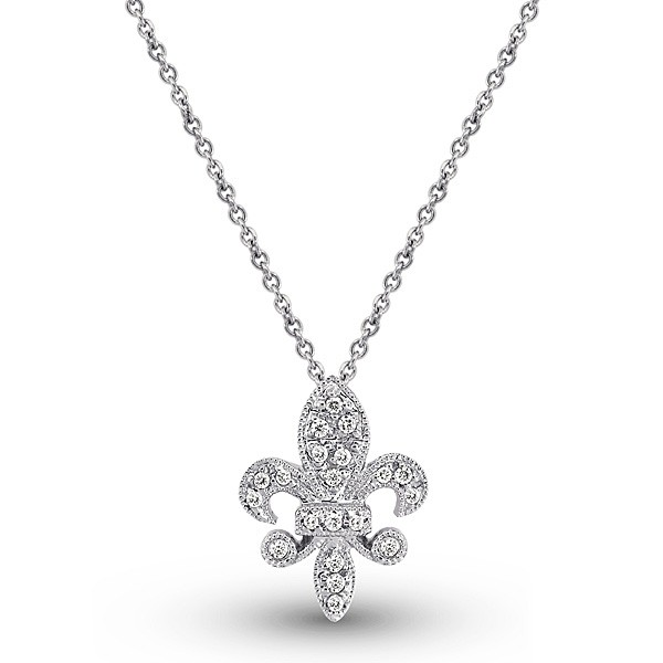 Diamond Small Fleur Di Lis Necklace in 14k White Gold with 20 Diamonds weighing.10ct tw.