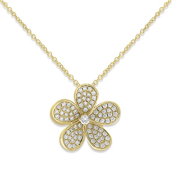 Diamond Large Flower Necklace in 14k Yellow Gold with 81 Diamonds weighing .44ct tw.