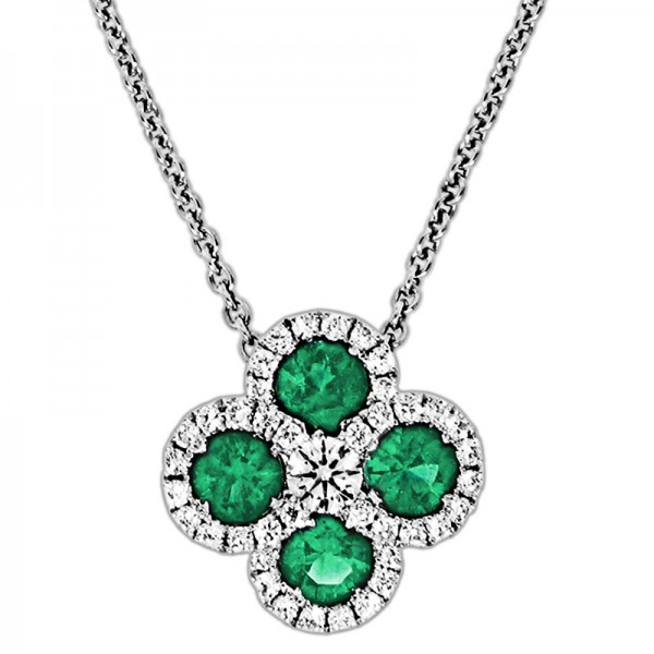 Classic Color Diamond And Emerald Pendant P 5924-EM