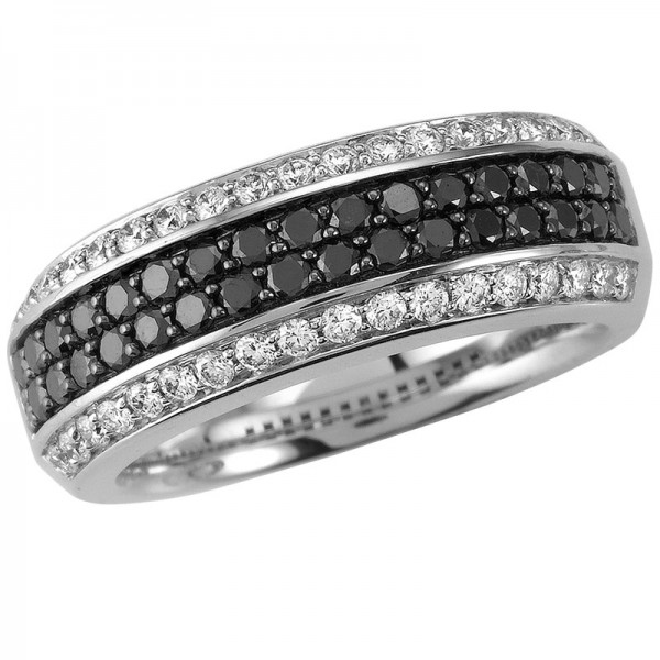 Black and White White And Black Diamond Ring R 5112-BD