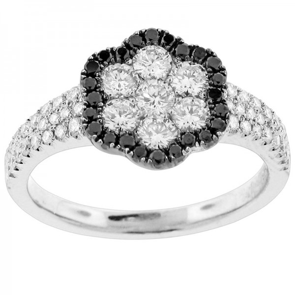 Black and White White And Black Diamond Ring R 5645-BD