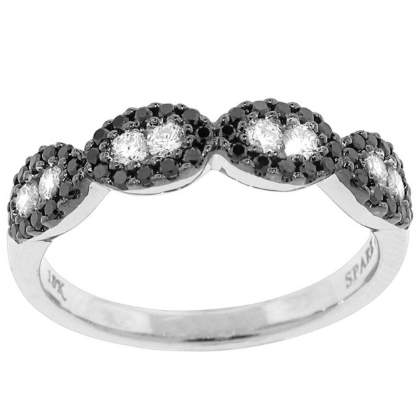 Black and White White And Black Diamond Ring R 5678-BD