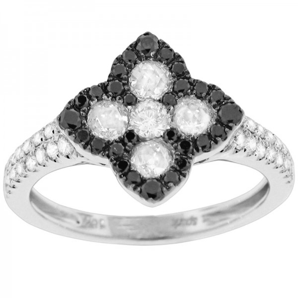 Black and White White And Black Diamond Ring R 5718-BD