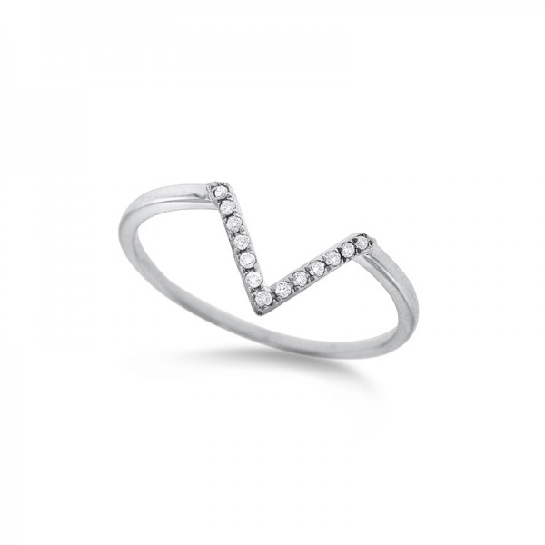"""Diamond Mini """"V"""" Ring in 14K White Gold with 13 Diamonds Weighing .06 ct tw"""