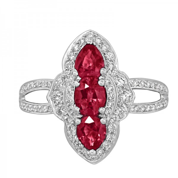 Classic Color Diamond And Ruby Ring R 6015-R
