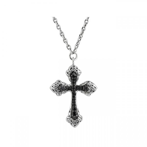 Classic Carved Signature Scroll, Black Sapphire Cross Pendant