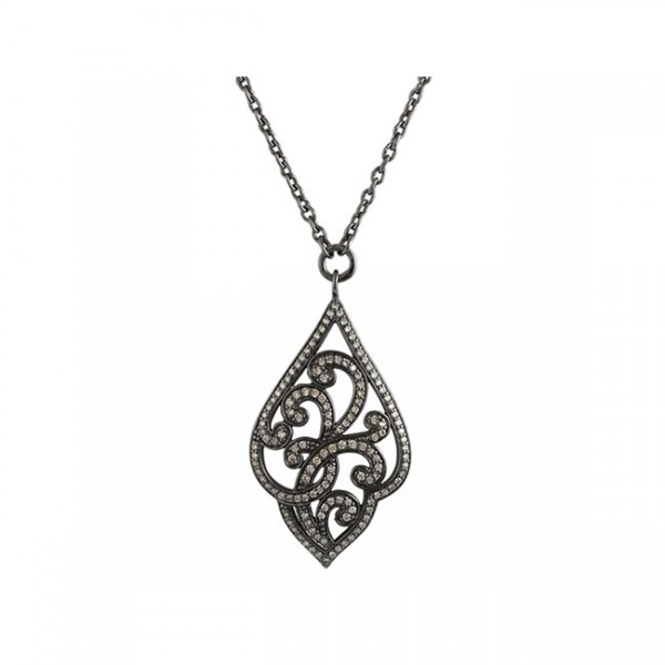 Brown Diamonds, Open Scroll Pendant Necklace