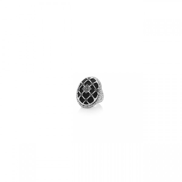 Brown Diamond & Matte Black Onyx Caged Cocktail Ring