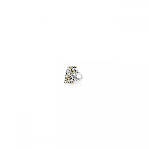 18K Gold, White Diamond, Sterling Silver Cross Ring