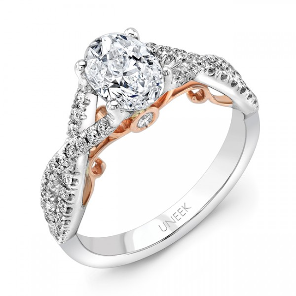 """Uneek """"Paradiso"""" Oval Diamond Engagement Ring with Pave Infinty/Crisscross Shank in 14K White Gold,"""