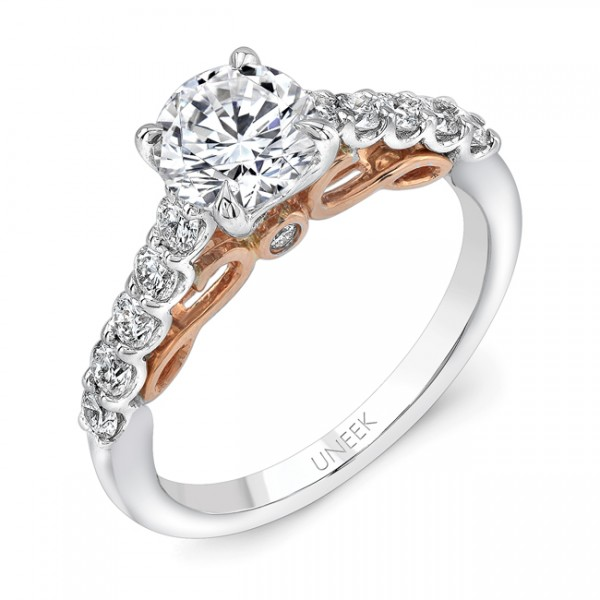 """Uneek """"Serpentina"""" Round Diamond Engagement Ring with Shared-Prong Shank in 14K White Gold, and Unde"""